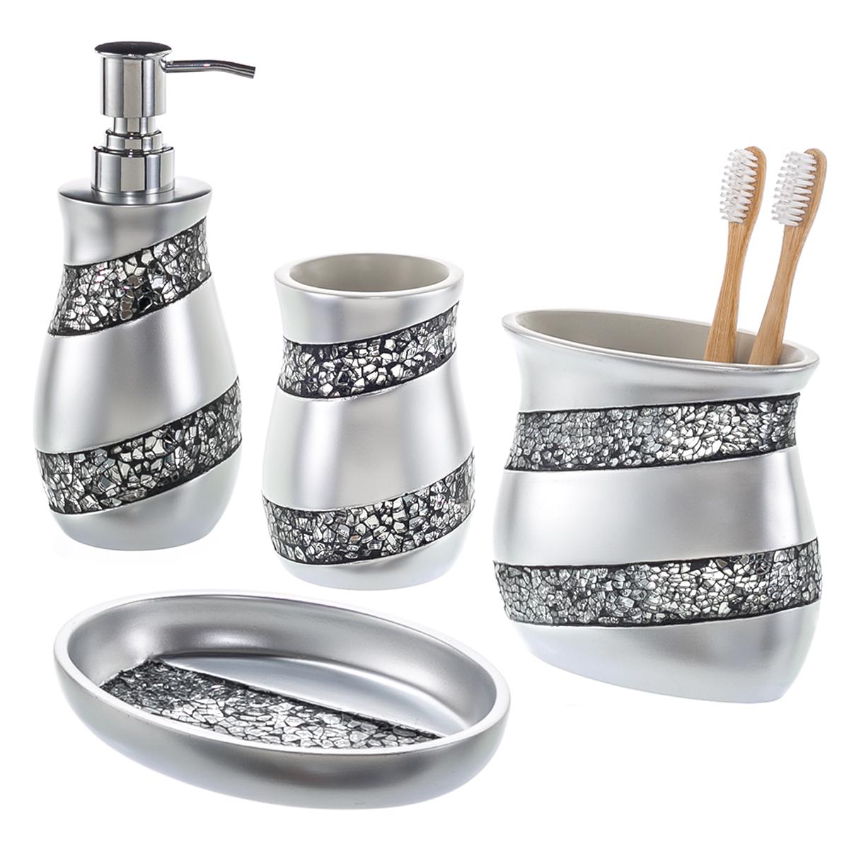 Deon reviews 4u 4 piece mosaic glass bathroom accessories for Glass bath accessories set