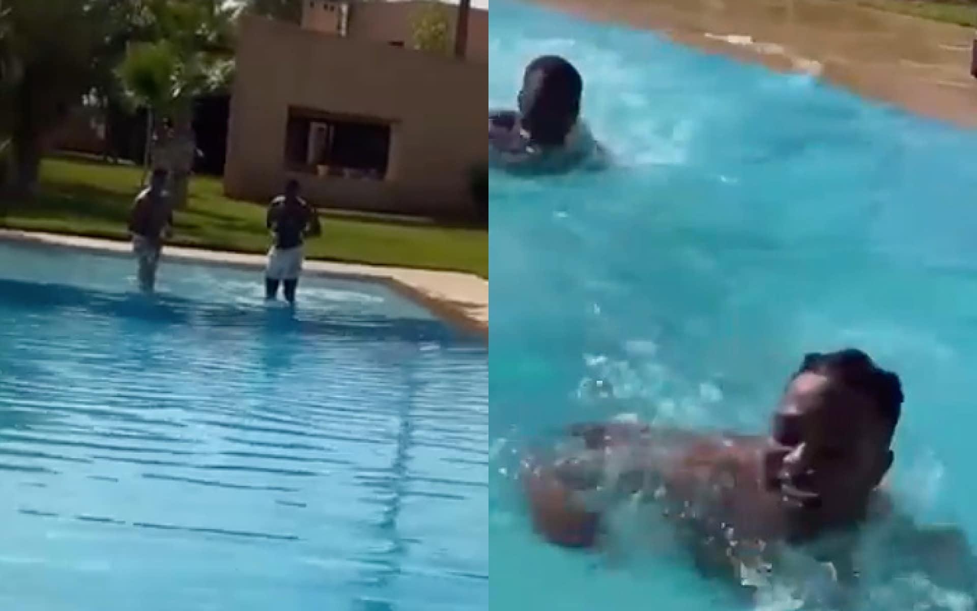 Photo de Ninho et Niska à la piscine