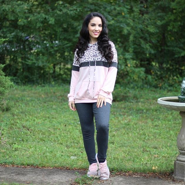 Shewin Wholesale Women's Clothing Leopard Colorblock Hoodie