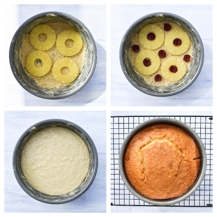 Vegan Pineapple Upside Down Cake - step 3 - fruit added to the tin, then the cake batter and baked