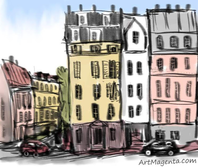 City view is a sketch by artist and illustrator Artmagenta