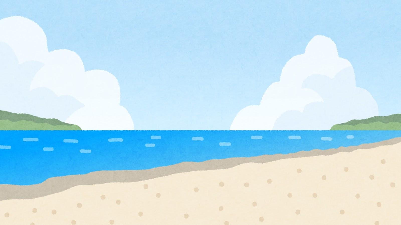 海辺・ビーチのイラスト(背景素材) | かわいいフリー素材集 いらすとや