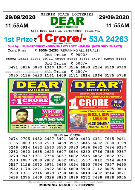 Sikkim State Lottery Sambad 29-09-2020 Today Result 11.55 AM