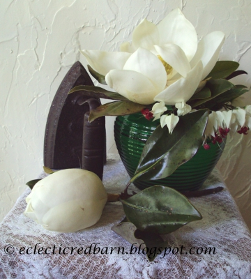 Eclectic Red Barn: Magnolia Flower/Bleeding Heart with old iron Vignette