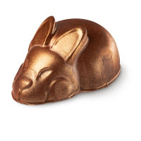 A golden slightly brown bunny laid down shaped body scrub on a bright background