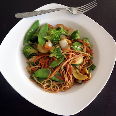 Leftover Lo Mein:  Not lo mein that is left over but lo mein made from leftovers.  A stir fry made with leftover spaghetti noodles and veggies.