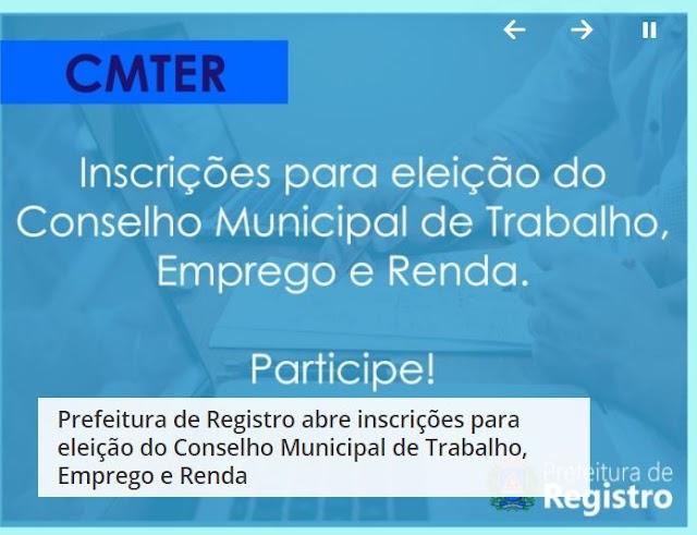 Prefeitura de Registro abre inscrições para eleição do Conselho Municipal de Trabalho, Emprego e Renda