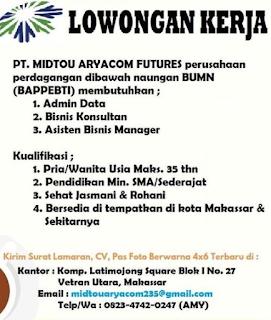 Loker Makassar PT. MIDTOU ARYACOM FUTURES