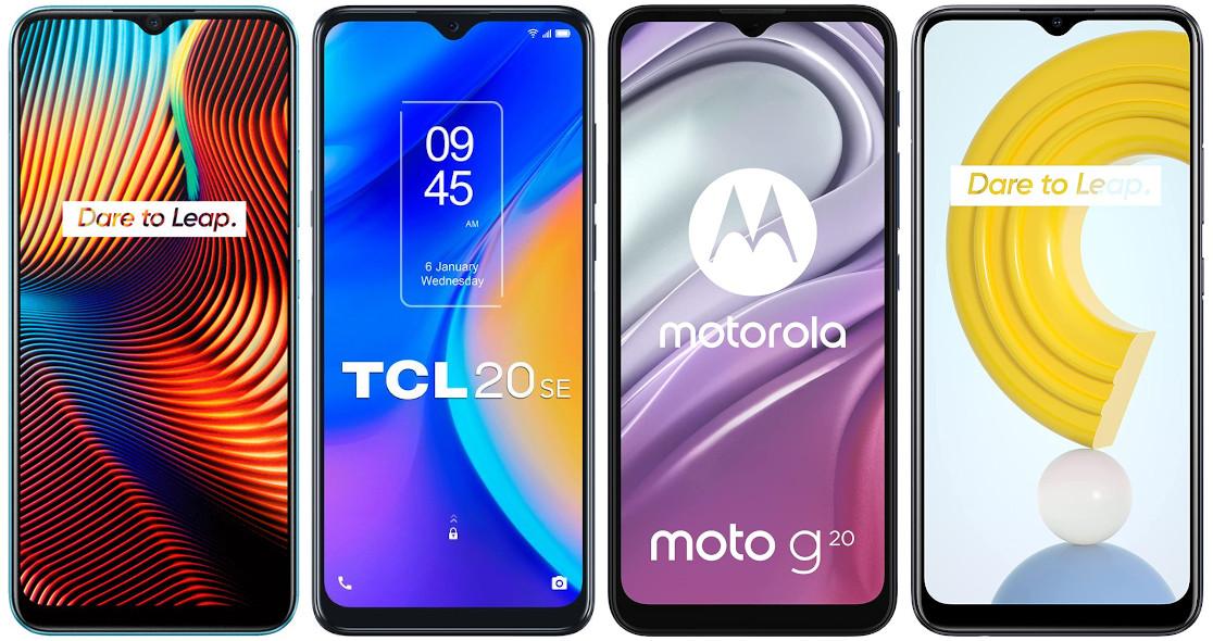 Realme 7i vs TCL 20 SE vs Motorola Moto G20 vs Realme C21