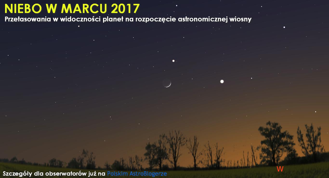 NIEBO NAD NAMI (3) - Marzec 2017 - Przetasowania w widoczności planet na rozpoczęcie astronomicznej wiosny