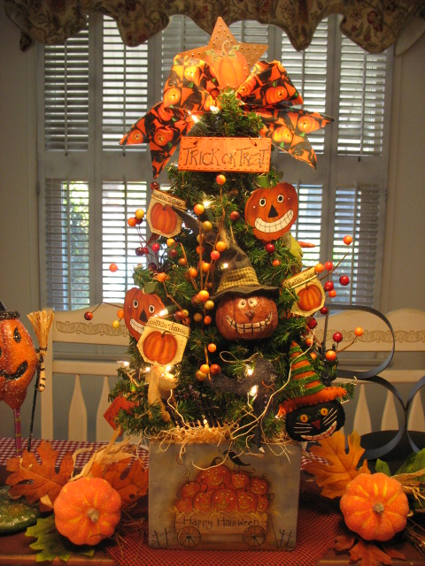 Country Creations By Denise Pumpkin Halloween Tree