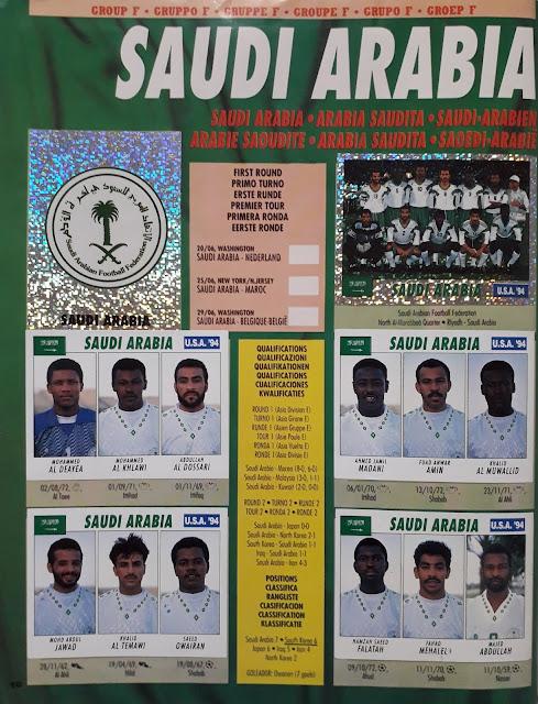 USA 94 WORLD SOCCER CHAMPIONSHIP GROUP F SAUDI ARABIA