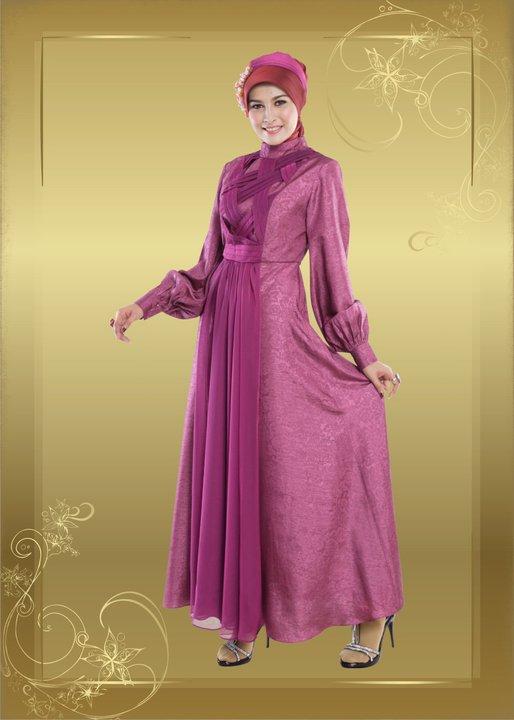 Model Baju Gamis Terbaru Batik Pesta Bahan Brokat Sifon