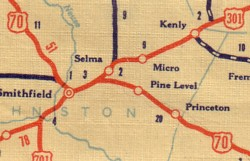 The Four US S Of Selma Smithfield - Us 301 map