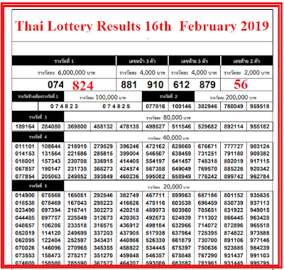 Thai-lottery-result-16th-February-2019