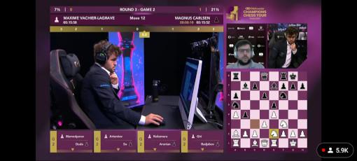 Capture d'écran du match entre Magnus Carlsen sur place à Oslo et Maxime Vachier-Lagrave à Paris - Photo © Echecs & Stratégie