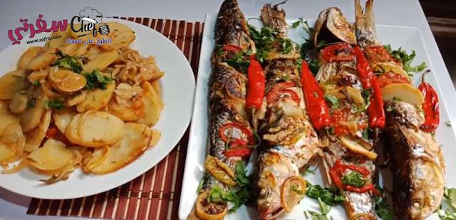 صنية السمك البوري بالبطاطس والخضار فاطمه ابو حاتي
