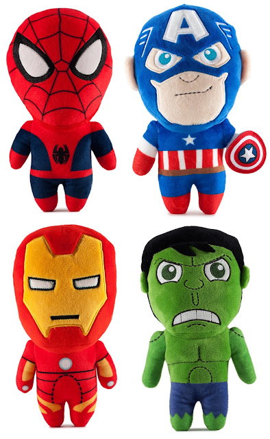 Marvel Phunny Series 1 Plush Figures by Kidrobot - Spider-Man, Captain America, Iron Man & Hulk