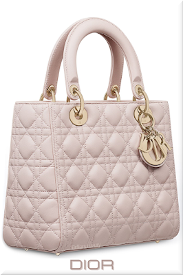 ♦Dior Lady Dior rose poudre top handle lambskin mini bag with classic canage-motif and iconic Dior charms in gold #dior #bags #ladydior #brilliantluxury