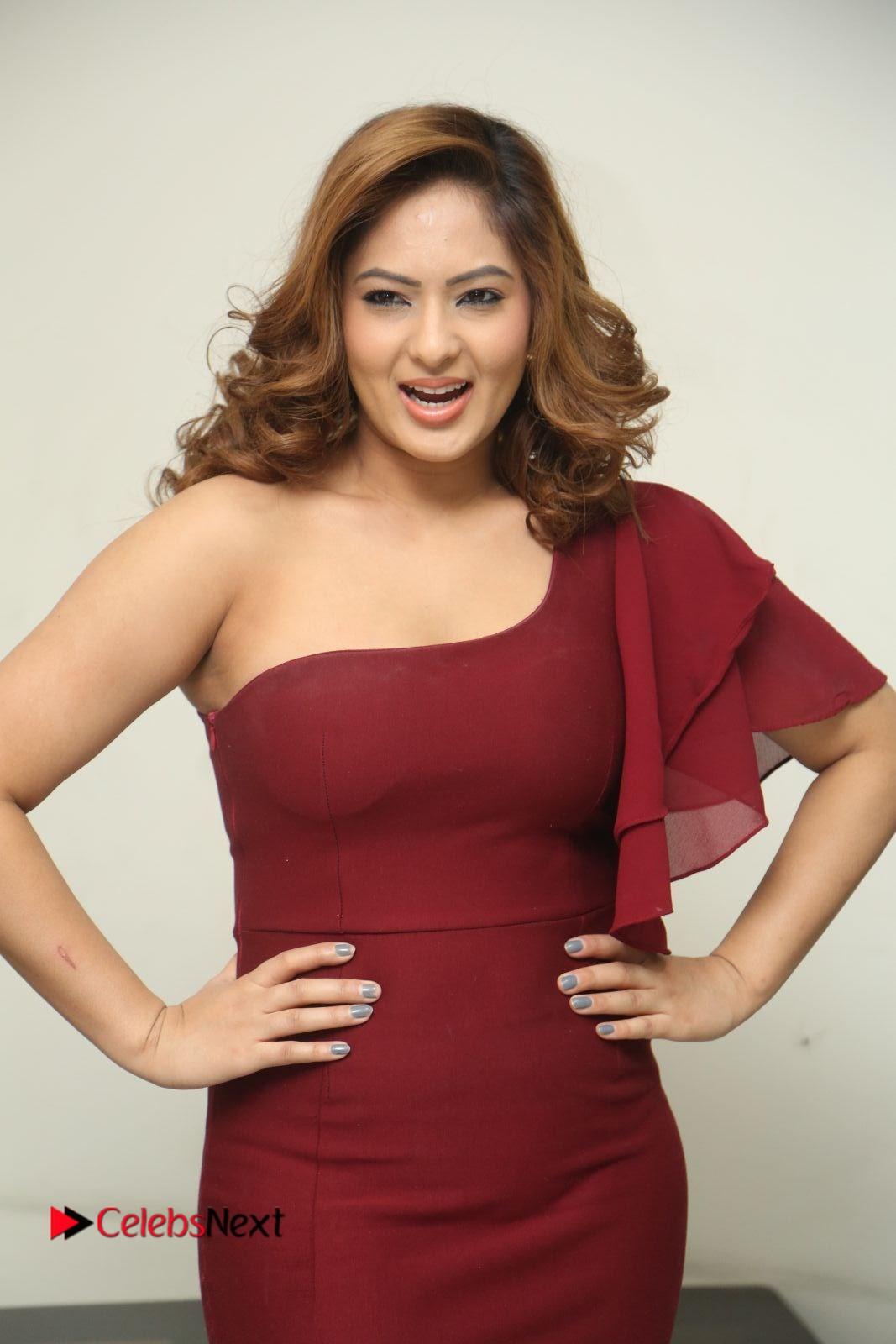 Nikeesha Patel Stills in Red Short Dress at Araku Road Lo Release Press Meet