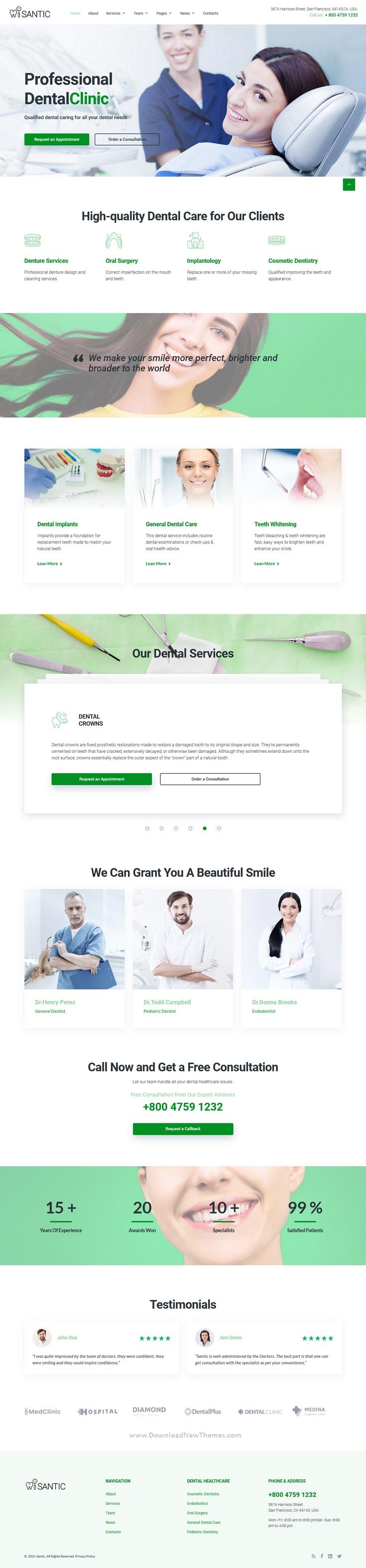 Dental Clinic Bootstrap Theme