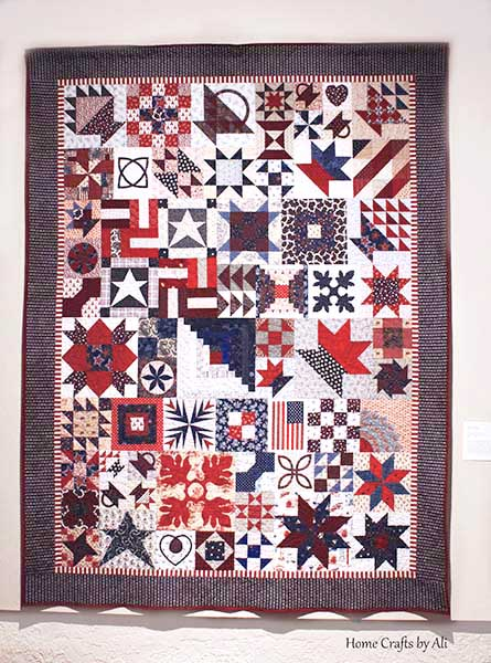 red, white, and blue, sampler block quilt patriotic