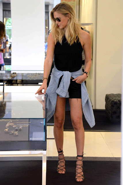 Bar Refaeli Leggy Out in Milan