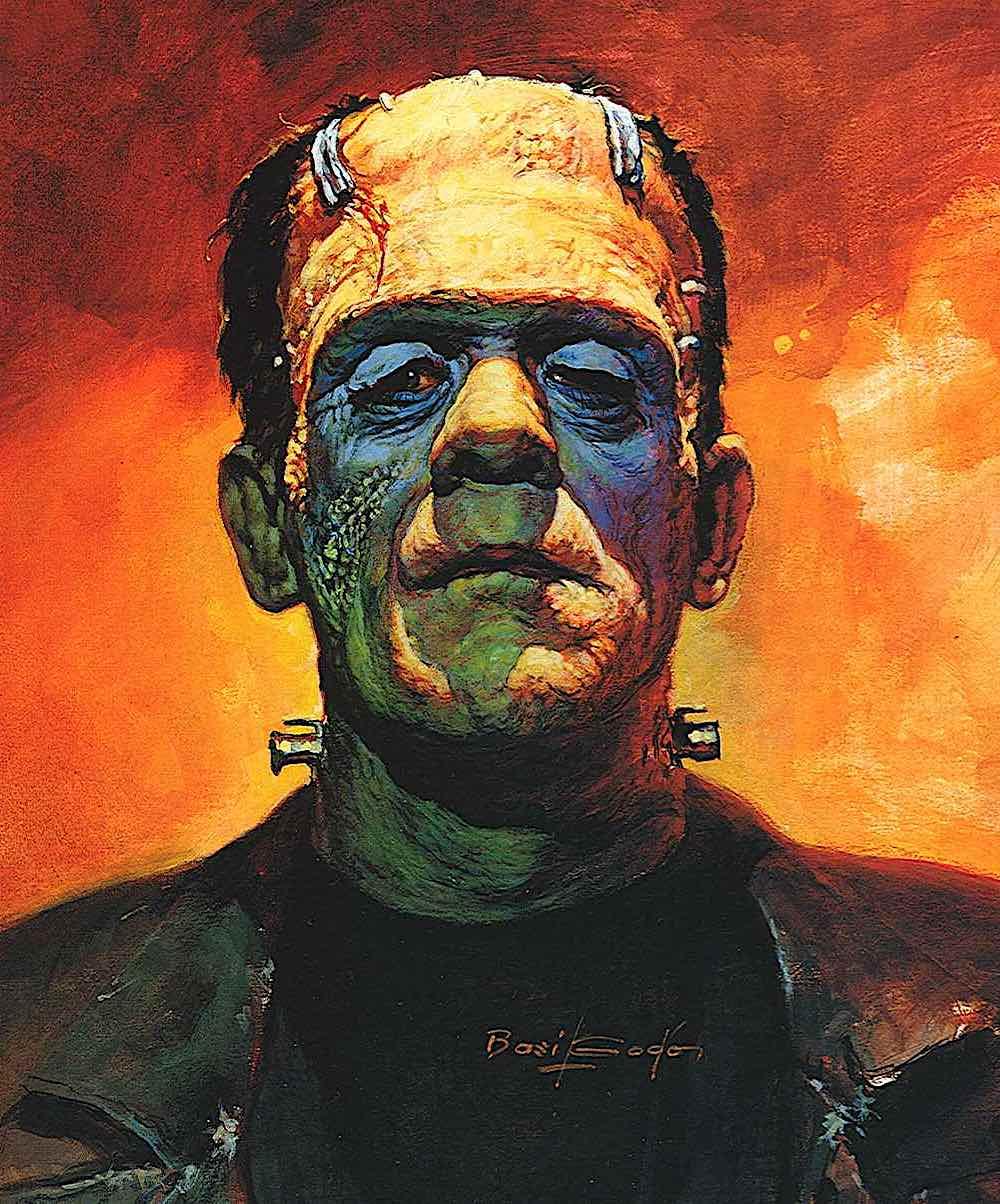 a Basil Gogos illustration of the Frankenstein monster