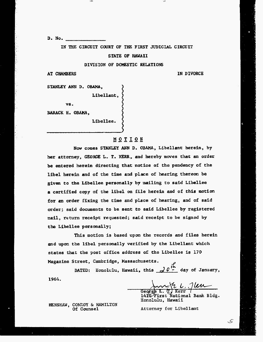 Stanley Ann Dunham And Barack Obama, Sr. Divorce Decree That Was Final On  March 20, 1964  Divorce Decree Sample