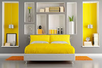 Gray bedroom wall color with yellow accent