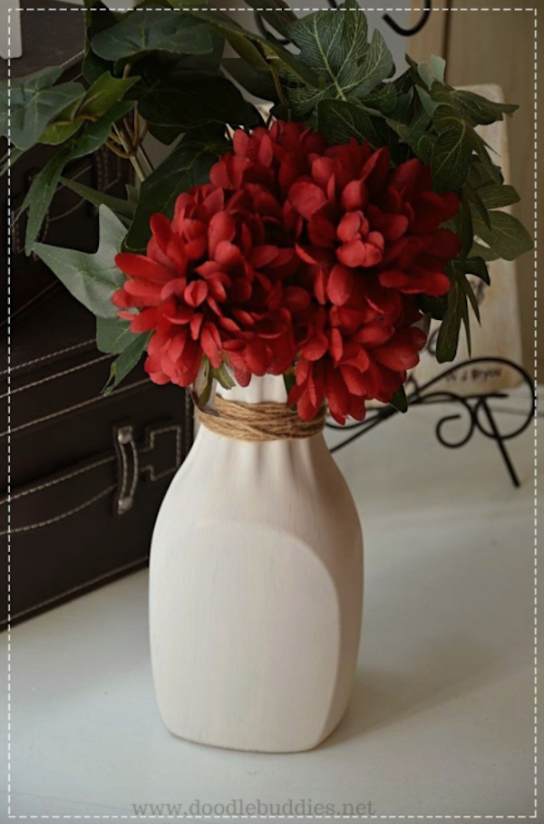 How to recycle a plastic juice bottle into a farmhouse vase