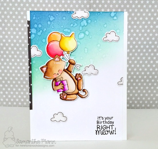 Cat with Balloons Birthday Card by Samantha Mann| Newton's Birthday Balloons Stamp Set by Newton's Nook Designs #handmade #newtonsnook