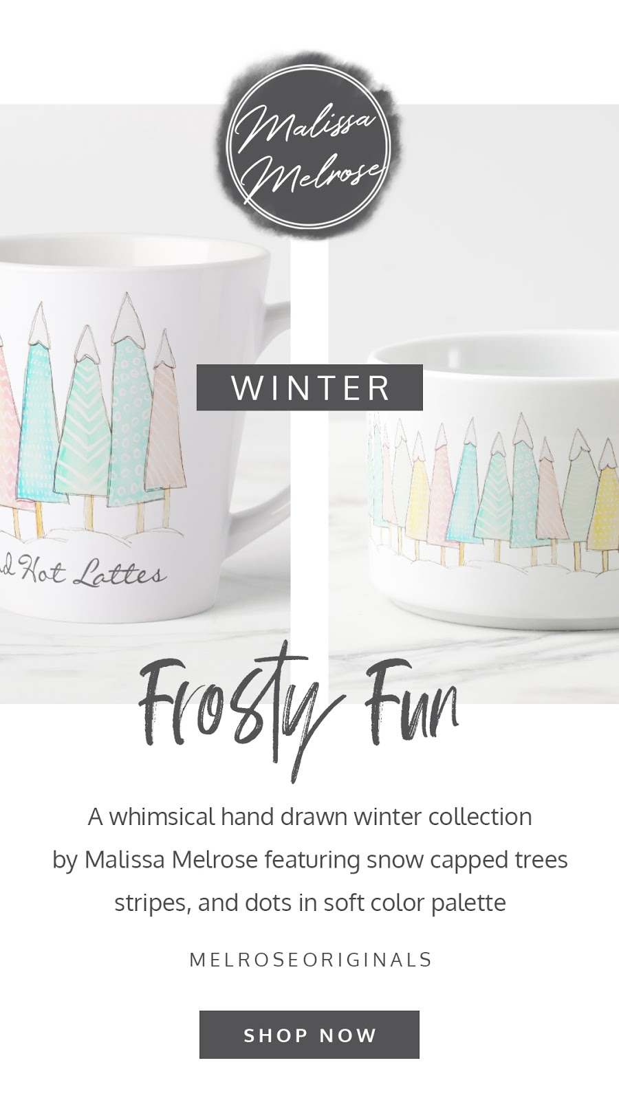 Whimsical winter home decor and gifting collection. Featuring personalized mugs, pillows, cards, gifts, and kitchen docor. In a mint chip green, crocus yellow, pretty pink, and winterscape teal color palette.
