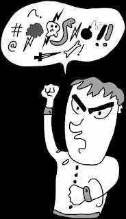 Dibujo animado de persona negativa