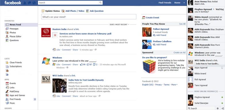 Evolusi Desain Facebook tahun 2011