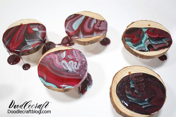 Resin pouring on wood slices
