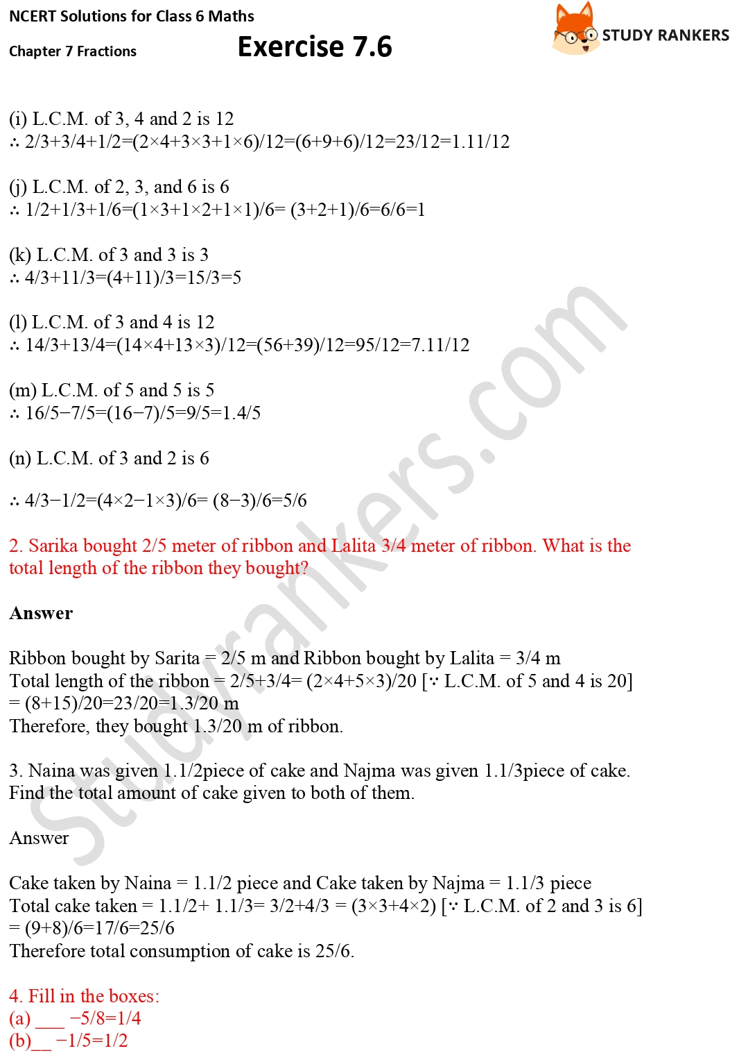 NCERT Solutions for Class 6 Maths Chapter 7 Fractions Exercise 7.6 Part 2