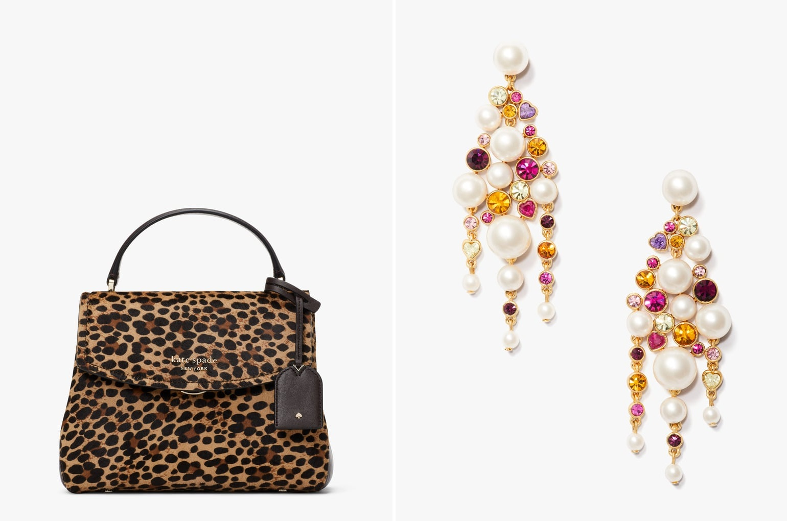 Thompson Leopard Small Top-Handle Bag & Pearl Caviar Statement Earrings