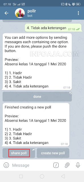 Share poll aplikasi telegram
