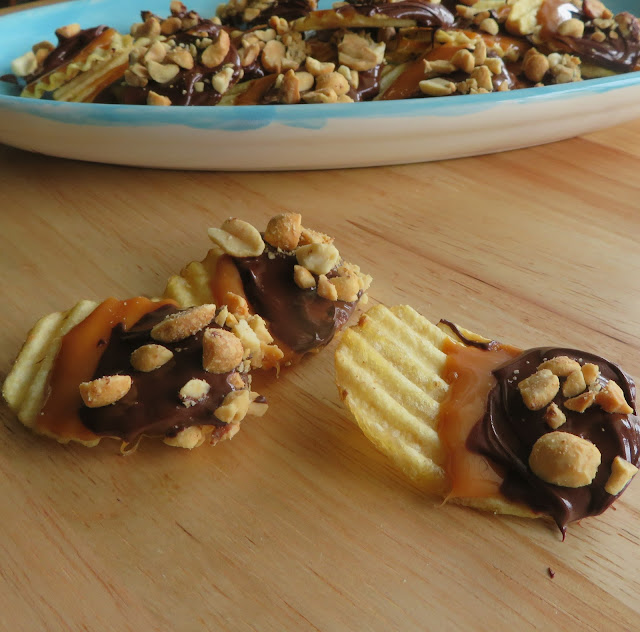 Toffee, Chocolate and Peanut Dipped Potato Chips