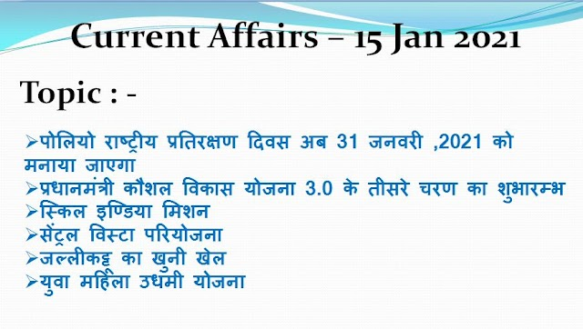 Today Current Affairs In Hindi - 15 Jan 2021