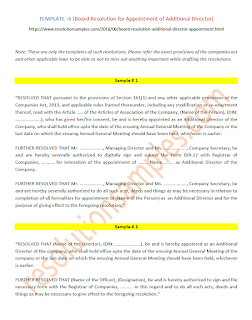 board resolution for appointment of additional director format