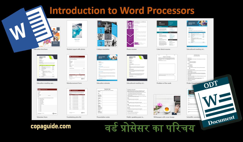 Word Processor Hindi Notes