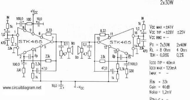 2x30w stereo audio amplifier based stk465