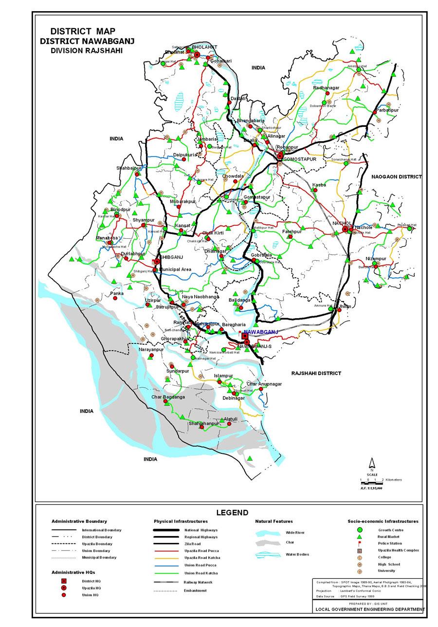Nawabganj District Map Bangladesh