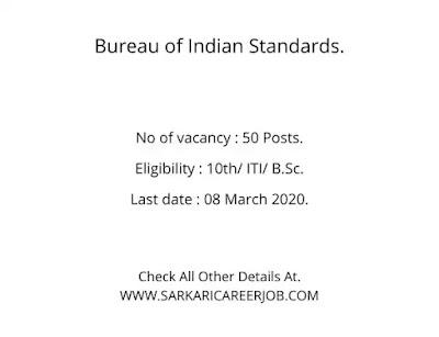 Bureau of Indian Standards Latest Recruitment 2020 | BIS vacancies 2020.