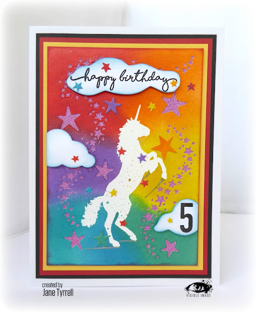 unicorn - 5th birthday card