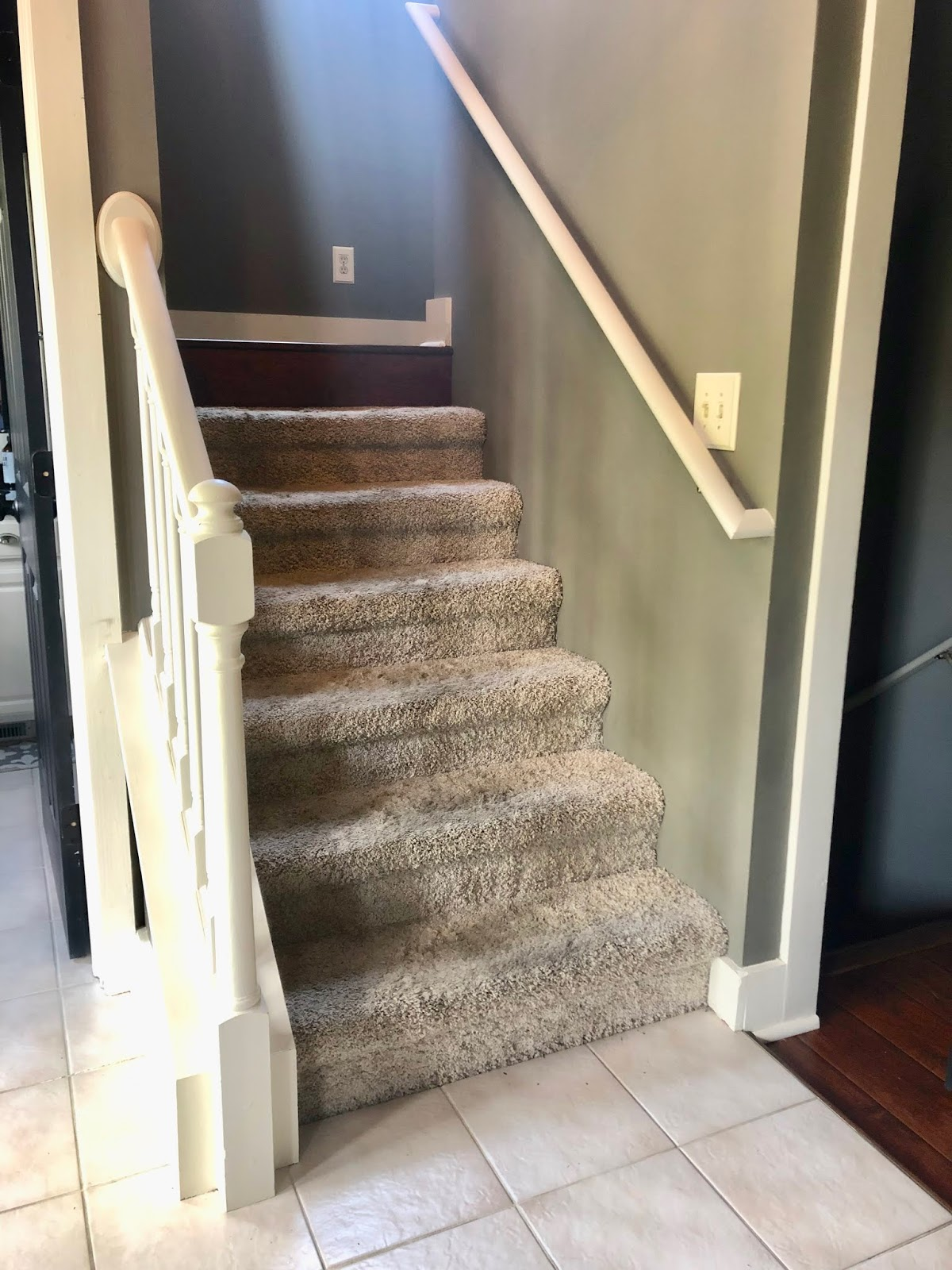 The Yellow Cape Cod Diy Staircase Makeover Tutorial With Cap A   Carpeted Stairs With Wood End Caps   Stair Railing   Waterfall   Diy   Capped   Step