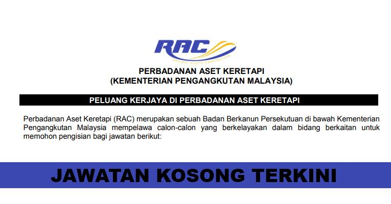 Kekosongan Terkini di Perbadanan Aset Keretapi (RAC)