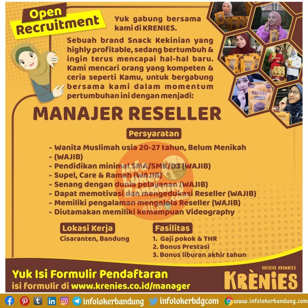 Lowongan Kerja Manajer Reseller Krenies Bandung November 2020